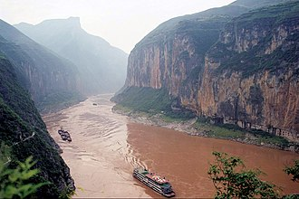 Three Gorges - The Qutang Gorge in 1999, prior to the creation of the Three Gorges Dam reservoir