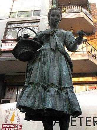 La Violetera - Raquel Meller fountain (1966), portrayed as La Violetera. Carrer Nou de la Rambla, Barcelona