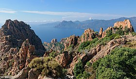 Vue d'ensemble des calanques de Piana.