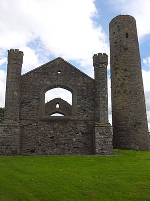 Board of First Fruits - Church at Taghadoe, Co. Kildare, built 1831. The round tower is from the 8th century AD.