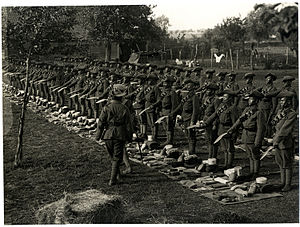 4 Gorkha Rifles - World War I: 1/4th GR at kit and kukris inspection, 24 Jul 1915, in France.