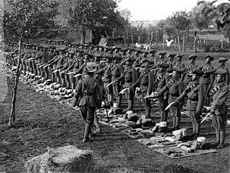 4 Gorkha Rifles - World War I: 1/4th GR at kit and kukris inspection, 24 Jul 1915, in France.