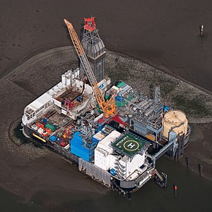Oil field - Oil Field Mittelplate in the North Sea