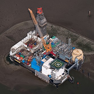 Oil platform - Oil platform Mittelplate in the North sea