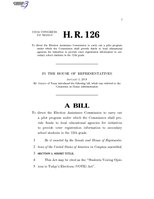 116th United States Congress H. R. 0000126 (1st session) - Students Voicing Opinions in Today's Elections (VOTE) Act.pdf