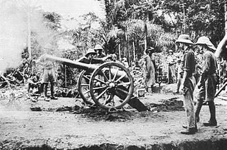 Kamerun Campaign - British 12-pounder firing at Fort Dachang in 1915