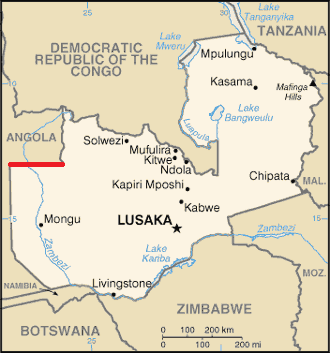 13th parallel south - The 13th parallel south defines part of Zambia's border with Angola.