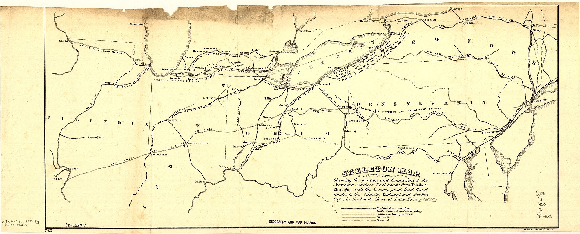 In this 1850 map, the original Wabash and Erie Canal is shown as part of an emerging system canals and rail lines