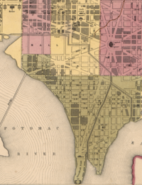 1851 Map of City of Washington (Detail) showing the Washington City Canal.png