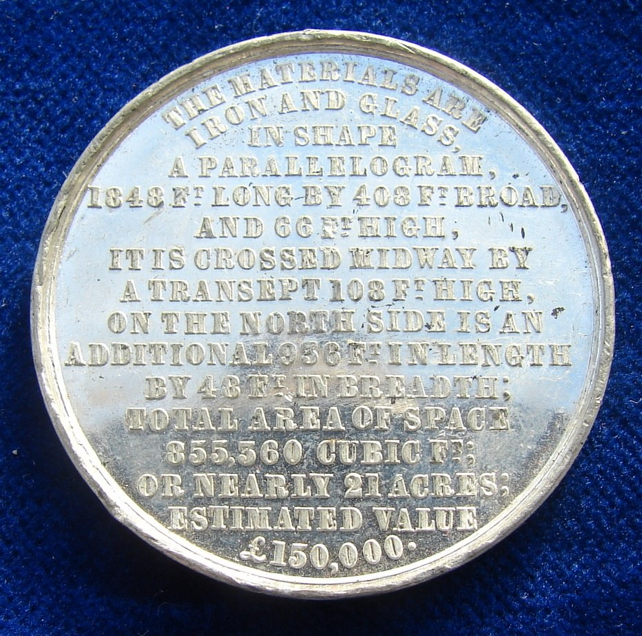 1851 Medal Crystal Palace World Expo London, reverse