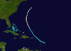 1861 Atlantic hurricane season - Image: 1861 Atlantic hurricane 1 track