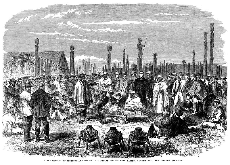 1863 Meeting of Settlers and Maoris at Hawke%27s Bay, New Zealand.jpg