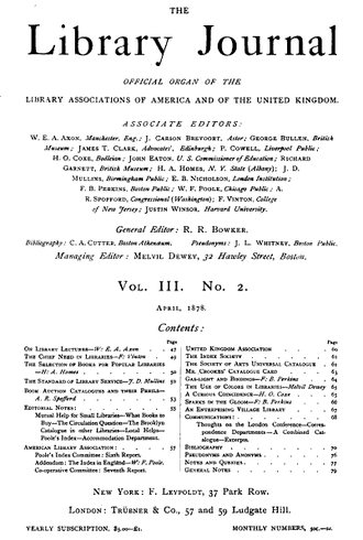 Library Journal - The first page of Library Journal for Volume 3, No. 2, 1878.