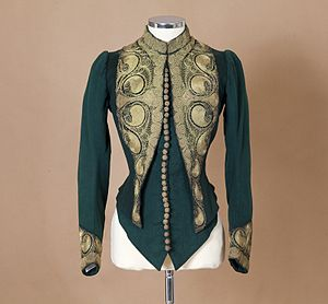 Redfern (couture) - A tailored jacket with gold embroidery by Redfern, c.1880. PFF collection.