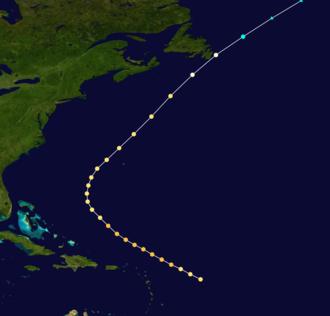 1890 Atlantic hurricane season - Image: 1890 Atlantic hurricane 3 track