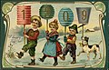 "1909 New Year postcard showing three children and a dog holding digit signs for year, with caption ""A happy New Year."".jpg"
