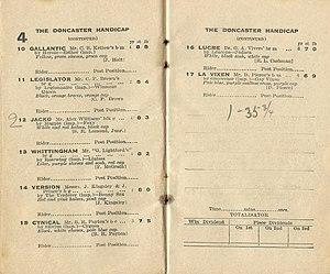 Doncaster Handicap - Image: 1933 AJC DONCASTER HANDICAP RACEBOOK P3