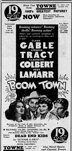 1940 - Nineteenth Street and Towne Theater Ad - 3 Oct MC - Allentown PA.jpg