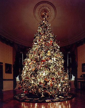 White House Christmas tree - The 1995 Blue Room Christmas tree – one of its ornaments was a source of political controversy for some.