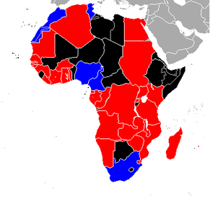 1998 FIFA World Cup qualification (CAF) - Image: 1998 FIFA WC qualifying Africa Teams map