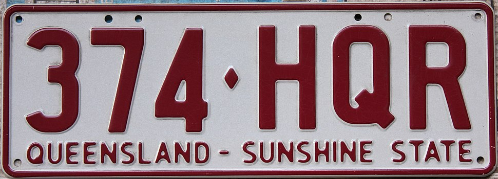 2002 Queensland registration plate 374♦HQR Sunshine State