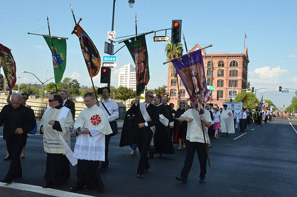The annual Grand Marian Procession through Downtown Los Angeles. 2012 Grand Marian Procession, Downtown Los Angeles.jpg