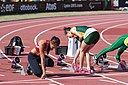 2013 IPC Athletics World Championships - 26072013 - Megan Absten of USA and Anrune Liebenberg of South-Africa preparing for the Women's 100m - T46 first semifinal.jpg
