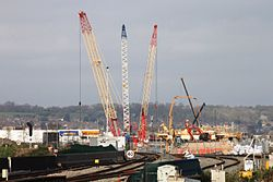 2014 at Reading Viaduct - cranes in the Triangle.jpg