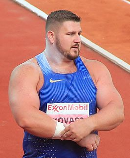 Joe Kovacs tijdens de Bislett Games in 2016.