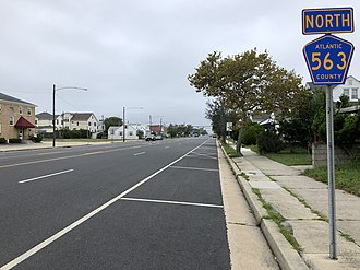 Margate City, New Jersey - County Route 563 northbound in Margate City
