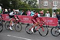 2018 Tour of Britain stage 3 156 Rick Zabel and 182 Nils Eekhoff in Yatton.JPG