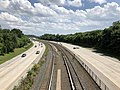 2019-07-17 15 06 27 View south along Interstate 795 (Northwest Expressway) from the overpass for McDonogh Road on the edge of Garrison and Randallstown in Baltimore County, Maryland.jpg