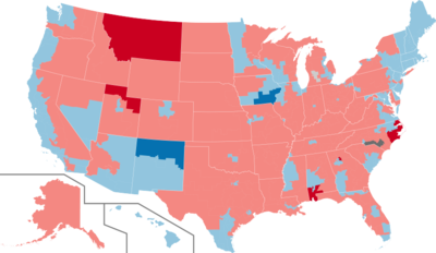 Color coded map of 2020 House of Representatives races