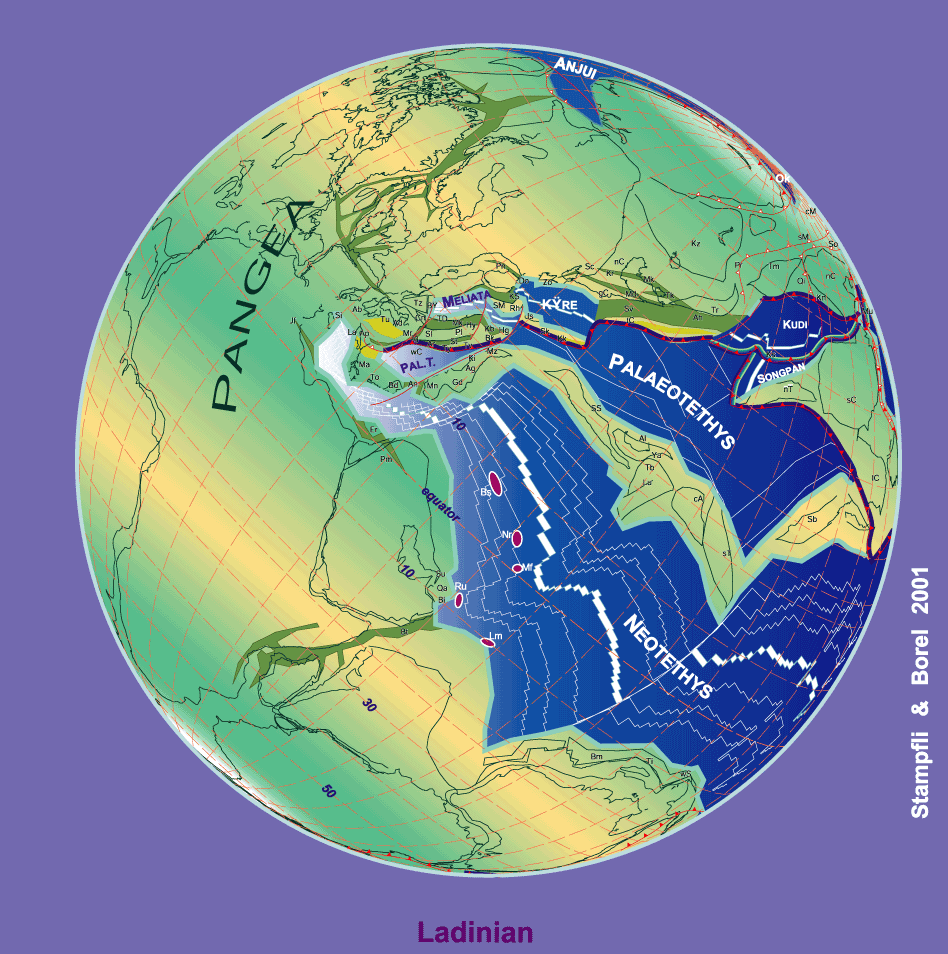 230 Ma plate tectonic reconstruction