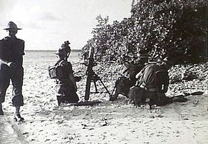 27th Battalion (Australia) - A 27th Battalion mortar team during a training exercise in December 1944