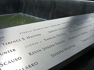 New York City Fire Department Rescue Company 1 - The names of Company members Terence S. Hatton, Joseph Angelini Sr. and Michael G. Montesi on panel S-9 of the South Pool of the National September 11 Memorial