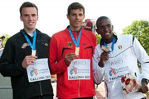 José Reynaldo Bencosme de Leon - Bencosme (right) on the 2011 European Athletics Junior Championships podium.