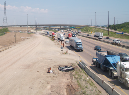 Construction along Ontario Highway 401, widening the road from six to twelve travel lanes 401-403-410 and Construction crop.png