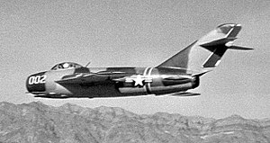 "Tonopah Test Range Airport - HAVE FERRY, the second of two MiG-17F Frescos ""loaned"" to the United States by Israel in 1969."
