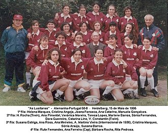 "Portugal women's national rugby union team - ""As Lusitanas"", the 1995 team that played Portugal's first test match, versus Germany"