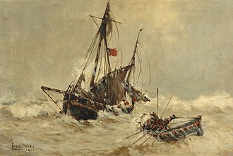 Scarborough Art Gallery - Image: 61, Dade, Frederick, Fishing Boat with Lifeboat, 1903