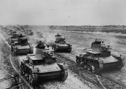 Polish army's 7TP tanks on military manoeuvres shortly before the Invasion of Poland in 1939. 7TP Polish Tank.png