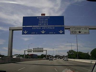 A8 La Provençale near Saint Laurent du Var.jpg