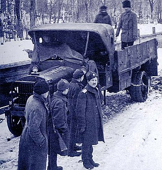 Liberty truck - First-series truck with AEF in Siberia near Narwa, ca.1919