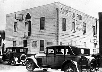 Baptism with the Holy Spirit - The Apostolic Faith Mission on Azusa Street, now considered to be the birthplace of Pentecostalism.
