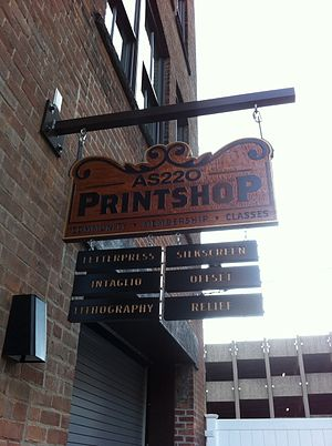 AS220 - Print shop sign in 2011