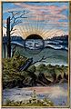 A black sun with a face descends behind the horizon of a mar Wellcome V0025641.jpg
