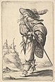 A gentleman, walking towards the left and drawing his sword from the sheath, wearing a plumed hat and boots with spurs MET DP829192.jpg
