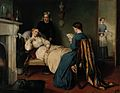 A girl reads to a convalescent while a nurse brings in the p Wellcome V0017068.jpg