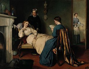 Timeline of nursing history - A girl reads to a convalescent while a nurse brings in the patient's medicine